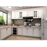 Wholesale White Particle Board Pvc Custom Kitchen Cupboards Traditional L Shape With Fridge from china suppliers
