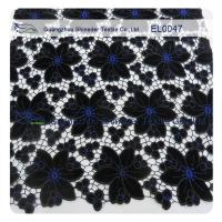Wholesale Anti - Static Embroidered Lace Fabric Black Width 130 - 135cm Polyester Material from china suppliers