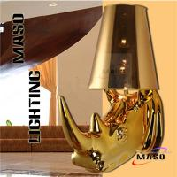 Quality Maso Residential Lighting Rihno Head Wall Decorative Resin Material Wall Lamp Gold Painted Plated Optional E27 Lamp Base for sale