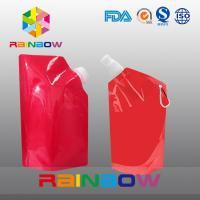 Quality 350ml 500ml 1L  plastic Flask Water green red color printed Bottle Bag with big Cap for sale