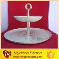 Wholesale new vintage 2 tier carrara white marble serving tray from china suppliers