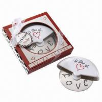 Wholesale Slice of love stainless steel pizza cutter in gift box packing from china suppliers