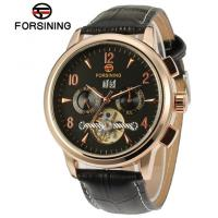 Wholesale Gold Forsining Gender Leather Tourbillon Automatic Watch Elegant , Black Dial Watch from china suppliers