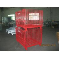 Buy cheap Epoxy Powder Coating Painting Red Wire Mesh Container Heavy Weight 2000lbs Loaded from wholesalers