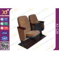 Quality Samller 560 MM Center Distance Strong Double Legs Wood Auditorium Chairs With Brown for sale