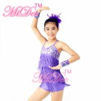 Wholesale Biketard Confetti Sequin Fringe Dress Kids Purple Latin Dance Costumes from china suppliers