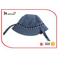 Quality Reversible Fishing Bucket Hat , Check And Herringbone Fisherman Hat With Button for sale