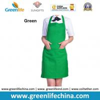 Wholesale Fashion lovely peak green kitchen cooking apron advertisment promotional apron with logo from china suppliers