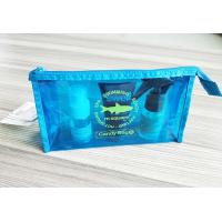 Bright Blue Waterproof Travel Kit Zipper Cosmetic Pouch Transparent Vinyl Make-Up Pouch for Travel and Beach for sale