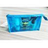 Bright Blue Waterproof Zipper PVC Cosmetic Bag , Transparent Vinyl Make Up Pouch for sale