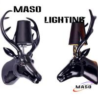 Quality Maso Hot Sale Hotel Project Deer Head Resin Wall Lamp Contemporary Style E27 Lamp Base One Holder MS-W1008 CE Standard for sale