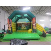 Quality Children Fireproof Combo Slide Bounce House Animal Monkey Theme for sale