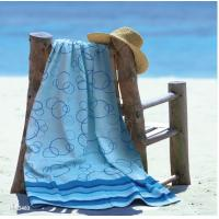 Wholesale Blue Large Cotton Beach Towels Jacquard Pool With Pigment Printed Design from china suppliers