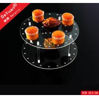 Quality Transparent Acrylic Holder Stand / Wedding Round Acrylic Cupcake And Cake Stand for sale