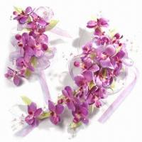 China Cattleya Bridal Headwear with Simulation of Real Flowers, Used for Wedding Gown and Dress on sale