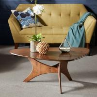 Wholesale Triangle Base Wood Top Coffee Table Middle Century Style In Natural Wood Tones from china suppliers