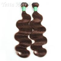 Wholesale Dark Brown Real Body Wave Human Hair Weave , Natural Remy Curly Hair Extensions from china suppliers