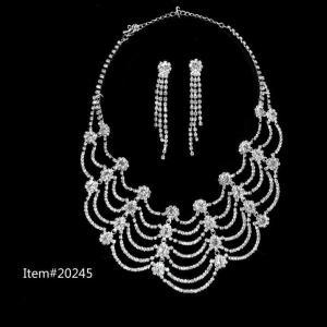 China Fashion silver crystal jewelry set on sale