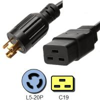 Wholesale American Generator Plug Power Cord 12 AWG NEMA L5 - 20P to IEC C19 Connector from china suppliers