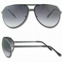 Wholesale Sunglasses with Cupronickel Frame, Fashionable, Non-toxic, Meets Impact Resistant Test from china suppliers