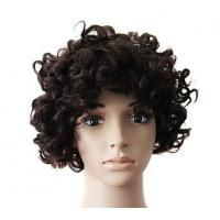 Wholesale Brown Natural Human Hair Wigs With Bangs , Short Curly Human Hair Wigs from china suppliers