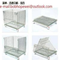 Wholesale storage cage/folding wire mesh container/Galvanized Welded metal storage cages with wheels/ wheeled wire mesh storage from china suppliers