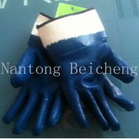 Wholesale Rubberized Cuff Blue Nitrile Work Gloves Safety with Cotton Jersey Lined from china suppliers