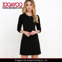 Wholesale Girls Round Neck Long Sleeve Classic Little Black Dress Mini Dress from china suppliers