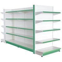Quality Assemble Green Supermarket Display Racks Metal Grinding Back Panel for sale