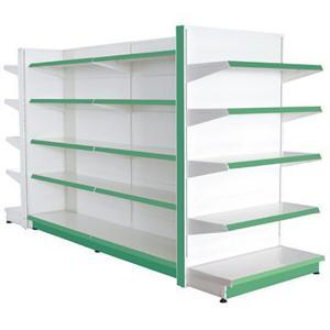 Quality Assemble Green Supermarket Display Racks Metal Grinding Back Panel for sale