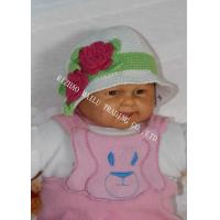 Wholesale White Handmade Crochet Winter Hat For Baby With Red Flowers / Green Leaves from china suppliers
