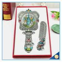 Wholesale Castle design Handle Mirrors Delicate Metal Hand Cosmetic Mirrors Handle Mirror with Comb Set Hand Held Mirrors from china suppliers