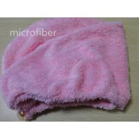 Wholesale Colorful microfiber woman coral fleece hair dry cap turban ultra-absorbent crystal button from china suppliers