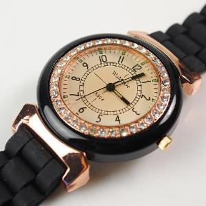 Quality Women Men's WOMAGE Rubber Quartz Jelly Candy Wrist Watch Black for sale
