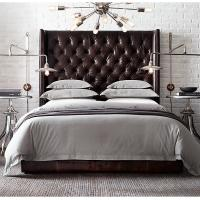 Wholesale Comfortable US Style Tufted Platform King Leather Bed with high / low back from china suppliers