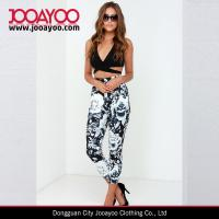 Wholesale Wide Elastic Waistband Rise of Dawn Loved Up Black and Ivory Floral Printed Pants from china suppliers