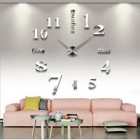 Wholesale Hot sale 3D Wall Clock Round Circle Wall Clock Silver Wall Clock Acrylic Wall Clock from china suppliers