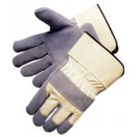 Quality Full palm cow split pink Leather Work Gloves with  white cotton back 603CBWFR for sale
