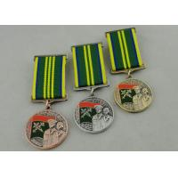 Wholesale Zinc Alloy 3D Custom Medal Awards , Antique Gold Plating And Special Ribbon from china suppliers