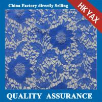 Wholesale 2014 china factory cheap  new design polyester jacquard heavy lace fabric in blue with big flower design from china suppliers