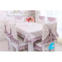 Wholesale Cotton floral table cloth and chair cover set for six seater table, table linens wholesale from china suppliers