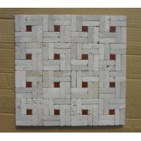 Wholesale Natural Stone Mosaic China White Travertine Wall Mosaic with Red Stone for Wall Decoration from china suppliers