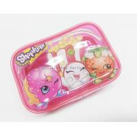 Cute & Lovely Girl Pink Vinyl Zipper Pouches , Non-toxic Clear Plastic Makeup Bag for sale