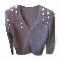 Wholesale Ladies' Short Cardigan, Made of Nylon, Angora and Wool, with Crystal Attached, Fashionable Look from china suppliers