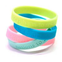 Wholesale Sports Custom Silicone Bracelets Ecofriendly Colorful Yellow / Blue from china suppliers