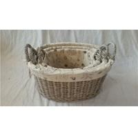 Wholesale large oval willow wicker laundry basket with lid and liner from china suppliers