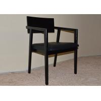 Wholesale Black Solid Wooden Restaurant Dining Room Armchairs with PU Leather Upholstery from china suppliers
