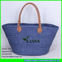 Wholesale LUDA handmade tote bags navy blue pu leather handles paper straw shopping bag from china suppliers