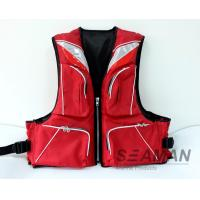 Wholesale Durable Fashion 4 Pockets 420D Nylon Polyester PVC Foam Adult Fishing Life Jacket 100N from china suppliers