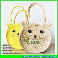 Wholesale LDMC-027 fashion cute cat  straw purse natural  wheat straw shoulder handbag bag from china suppliers
